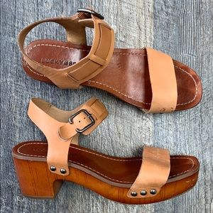 Lucky Brand Hannela Ankle Strap Clogs Sandals 8